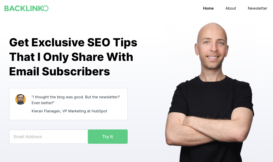 Great example of newsletter landing page