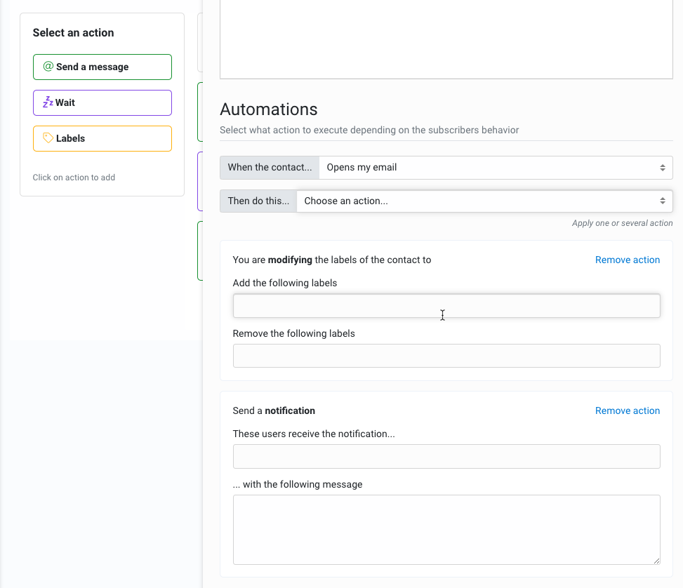 Actions for email automation campaign