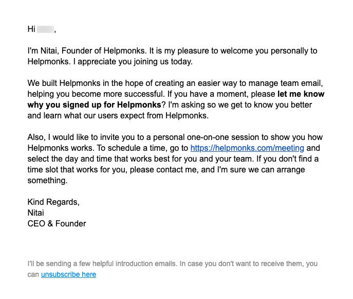example of a welcome email
